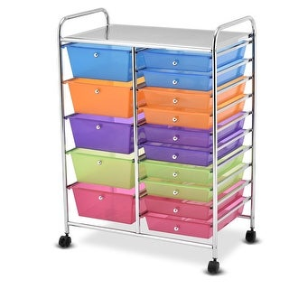 Link to Gymax Rolling Storage Cart 15 Drawers Organize Shelf Office School Similar Items in Office Furnishings