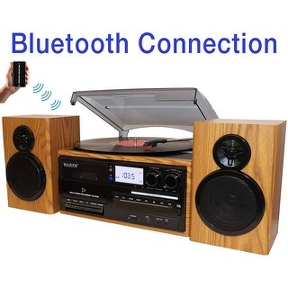 Boytone BT-28SPW, Bluetooth Classic Style Record Player Turntable with AM/FM Radio, CD / Cassette Player, 2 Separate Speakers