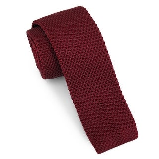 "Men's 2"" Knit Burgundy Tie"