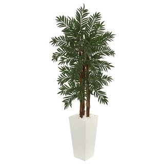 Nearly Natural 5.5' Parlor Palm Artificial Tree in White Tower Planter