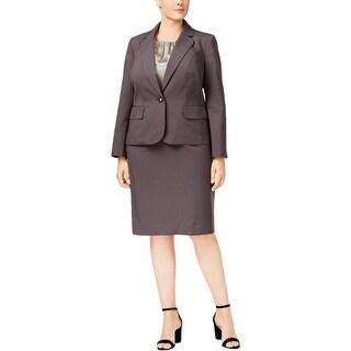Le Suit Womens Plus Skirt Suit Striped Work Wear