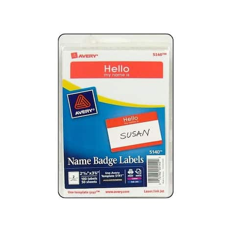 Avery dennison 5140 avery label name badge hello my name is red 100pc