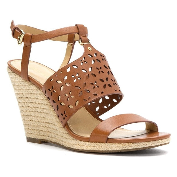 MICHAEL Michael Kors Womens Darci Wedge Leather Open Toe Casual Espadrille Sa...