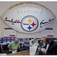 517a0f947 Franco Harris Terry Bradshaw Autographed Hand Pittsburgh Steelers Full Size  Logo Football PSADNA
