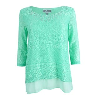 JM Collection Women's Petite Layered-Look Lace Tunic (PP, Mint Julip) - mint julip - pp