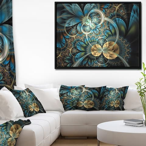 Designart 'Symmetrical Blue Gold Fractal Flower' Abstract Print On Framed Canvas