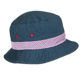 Scala Kids' Nautical Cotton Bucket Hat with Contrast Hatband and Underbrim - One size
