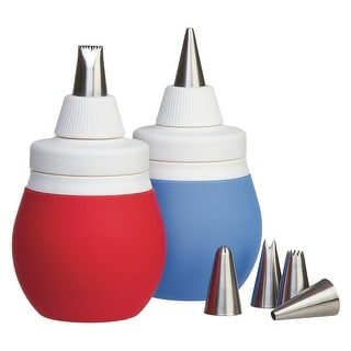 Progressive by Prepworks BWC-70CDP Decorating Bulb with Piping Tips, 1 Unit, Color Varies-Red or Blue - Red & Blue