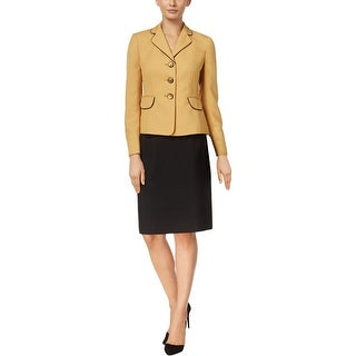 Le Suit Womens Skirt Suit 2PC Contrast Trim