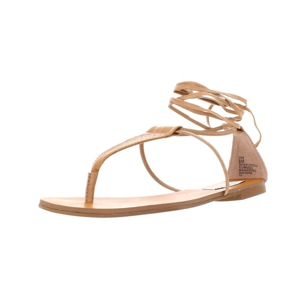 60f40fce3 Shop Steve Madden Womens Tiitan Flat Sandals Faux Leather T-Strap - Free  Shipping Today - Overstock - 27809497