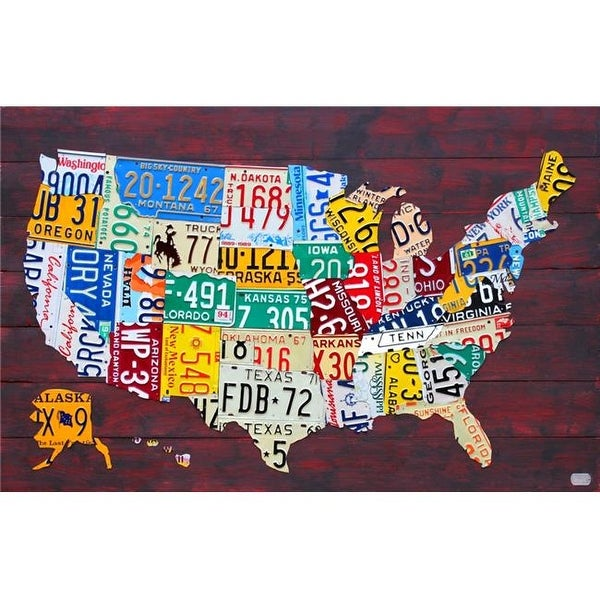 License Plate United States Map.Shop License Plate Map Of The United States Poster Print By 36 X