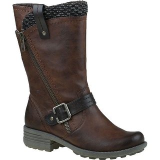 Earth Origins PRESLEY Womens Brown Side Zip Mid Calf Motorcycle Warm Boots Size 6.5 M - 6.5 b(m) us