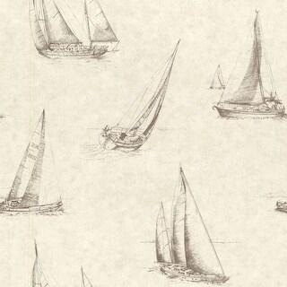 Brewster 2604-21201 Voyage Wheat Sailboats Wallpaper