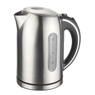 Culinary Edge ET1730 Electric Cordless Stainless Steel Tea Fast Water Kettle w/ Auto Shut-off, Brushed Stainless, 1.7 Liter