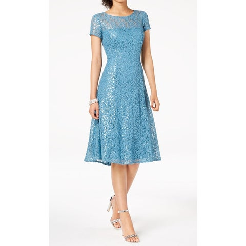 SLNY Blue Womens Size 14 Lace Sequinced Fit Flare Sheath Dress
