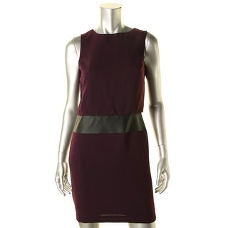 Lauren Ralph Lauren Womens Petites Faux Leather Sleeveless Wear to Work Dress