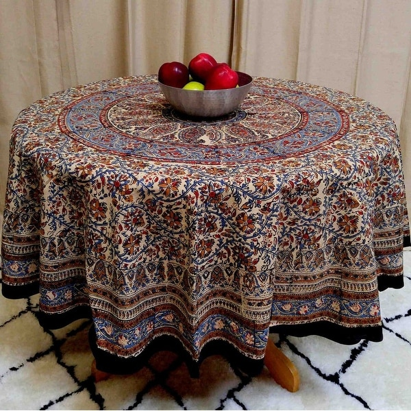Ordinaire Kalamkari Mandala Floral Paisley Block Print Cotton Tablecloth Rectangular  60x90 Inch Square 60x60 Round Napkins Placemats