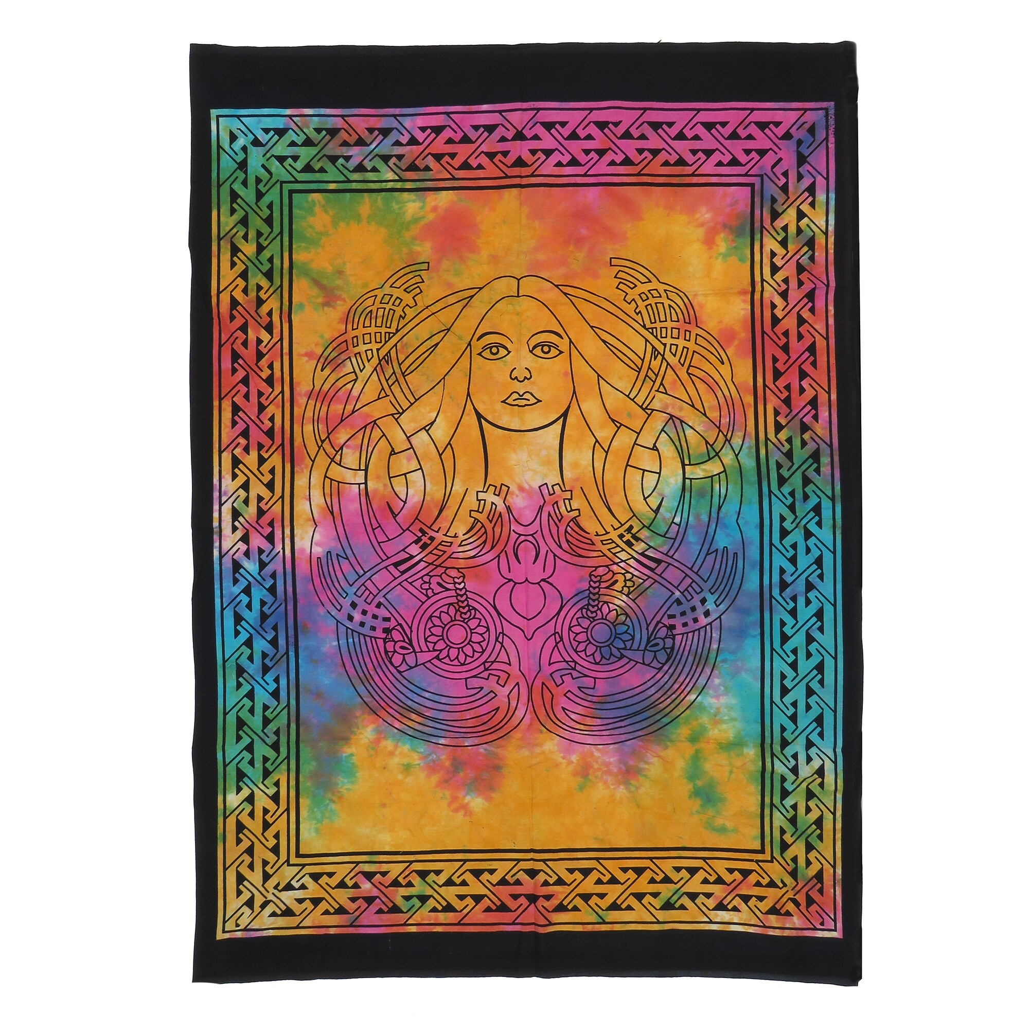 Orange Color Forest Tree Wall Hanging Bohemian Cotton Tapestry Poster Indian Art