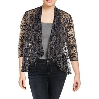 Alex Evenings Womens Plus Jacket Lace Metallic