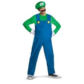 Mens Super Mario Bros Luigi Deluxe Halloween Costume