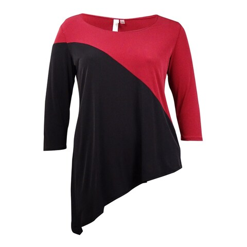 NY Collection Women's Colorblocked Asymmetrical Jersey Top - Wine/Black - L
