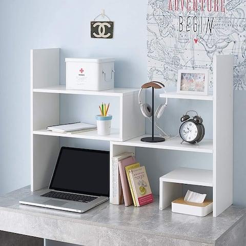 Yak About It Compact Adjustable Dorm Desk Bookshelf - White