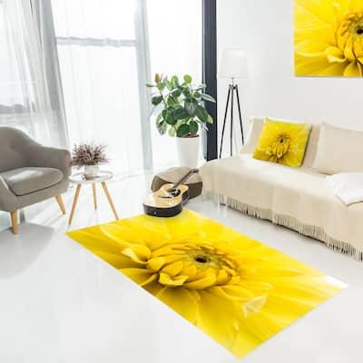 Designart 'Yellow Chrysanthemum Gold Flower' Floral Area Rug