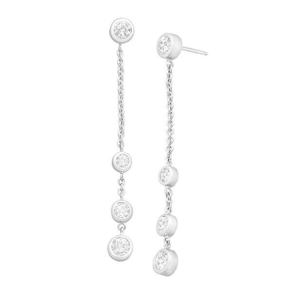 Station Drop Earrings with Swarovski Elements Zirconia in Sterling Silver - White