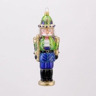 "6.25"" David Strand Designs Glass Peacock Cracker Nutcracker Christmas Ornament"
