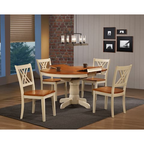 "Iconic Furniture Company 42""x42""x60"" Round Antiqued Caramel Biscotti Double X Back 5-Piece Dining Set"