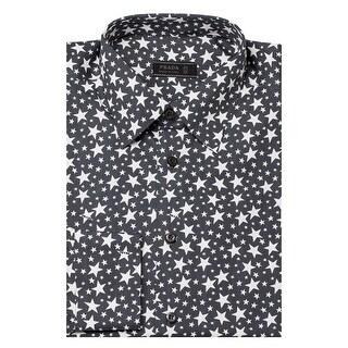Prada Men's Spread Collar Star Pattern Cotton Dress Shirt Grey