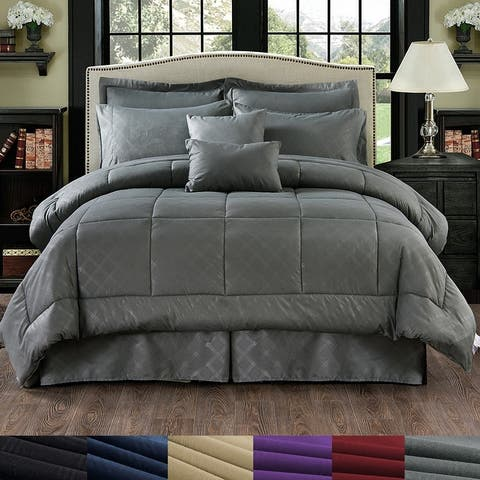 Luxurious 10 Piece Comforter Set Plaid Design Bed In A bag