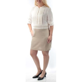 KENSIE $119 Womens New 1005 Beige Embellished Jewel Neck 3/4 Sleeve Dress L B+B