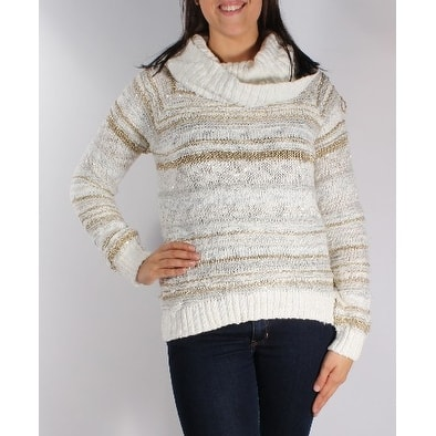 bc7910c56cc INC Womens White Sequined Striped Long Sleeve Cowl Neck Sweater Size  M