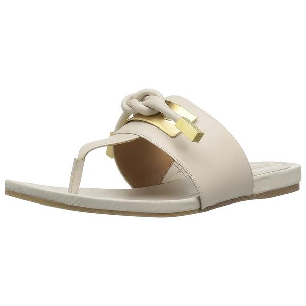Calvin Klein Womens Parson Leather Open Toe Casual T-Strap Sandals