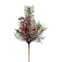 Club Pack of 12 Green and Cherry Red Frosted Pine/Berry Christmas Spray Decor 21""