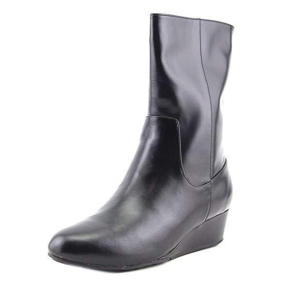 Cole Haan Tali Grand Short Waterproof Boot Women Leather Black Mid Calf Boot