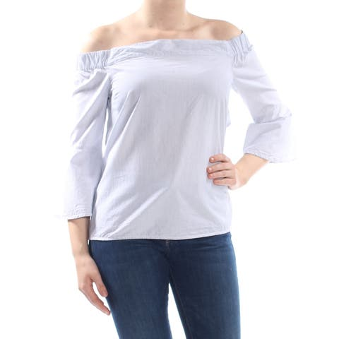 JESSICA SIMPSON Womens Blue Pinstripe 3/4 Sleeve Off Shoulder Top Size: M