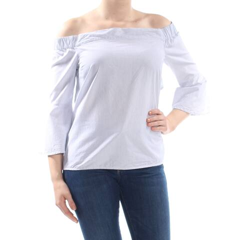 JESSICA SIMPSON Womens Blue Pinstripe 3/4 Sleeve Off Shoulder Top Size: S