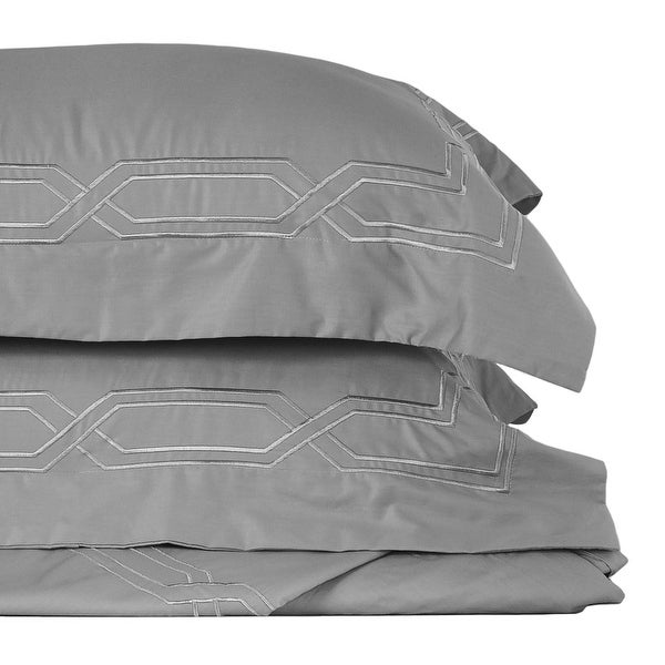 Metropolitan Stitch Duvet Cover Set Bedding Set 3 Pc Set Grey Gray Queen Size