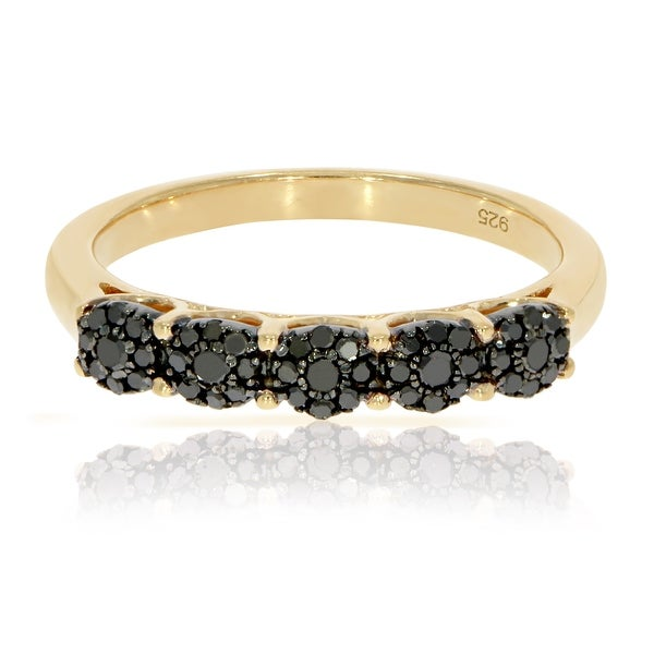 Fabulous 0.32 Carat Round Brilliant Cut Black Diamond Five Cluster Ring