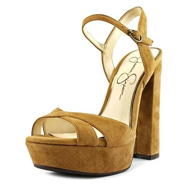 Jessica Simpson Naidine Women Open Toe Suede Tan Platform Sandal