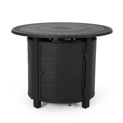 """Boulder Outdoor Round Aluminum Fire Pit by Christopher Knight Home - 33.50"""" W x 33.50"""" D x 25.25"""" H"""