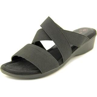 Mootsies Tootsies Nano Women Open Toe Canvas Black Wedge Heel
