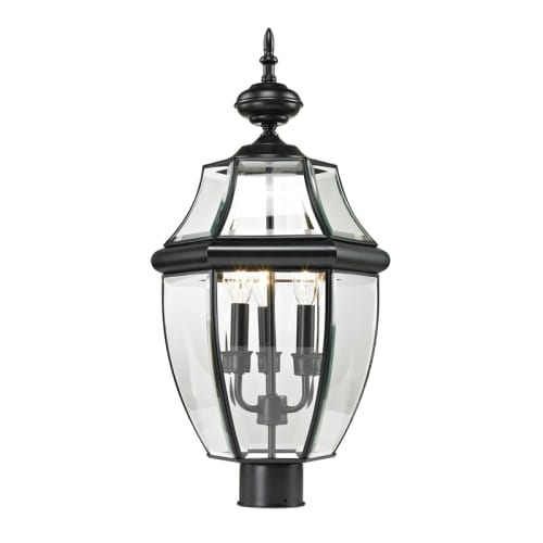 Cornerstone Lighting 8603EP Ashford 3 Light Outdoor Post Light With Clear  Glass Shade