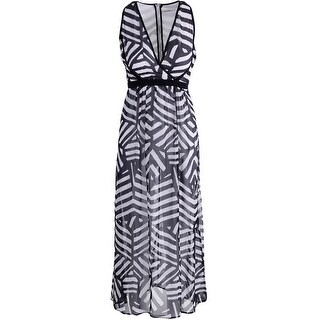 Calvin Klein Womens Petites Chiffon Striped Maxi Dress