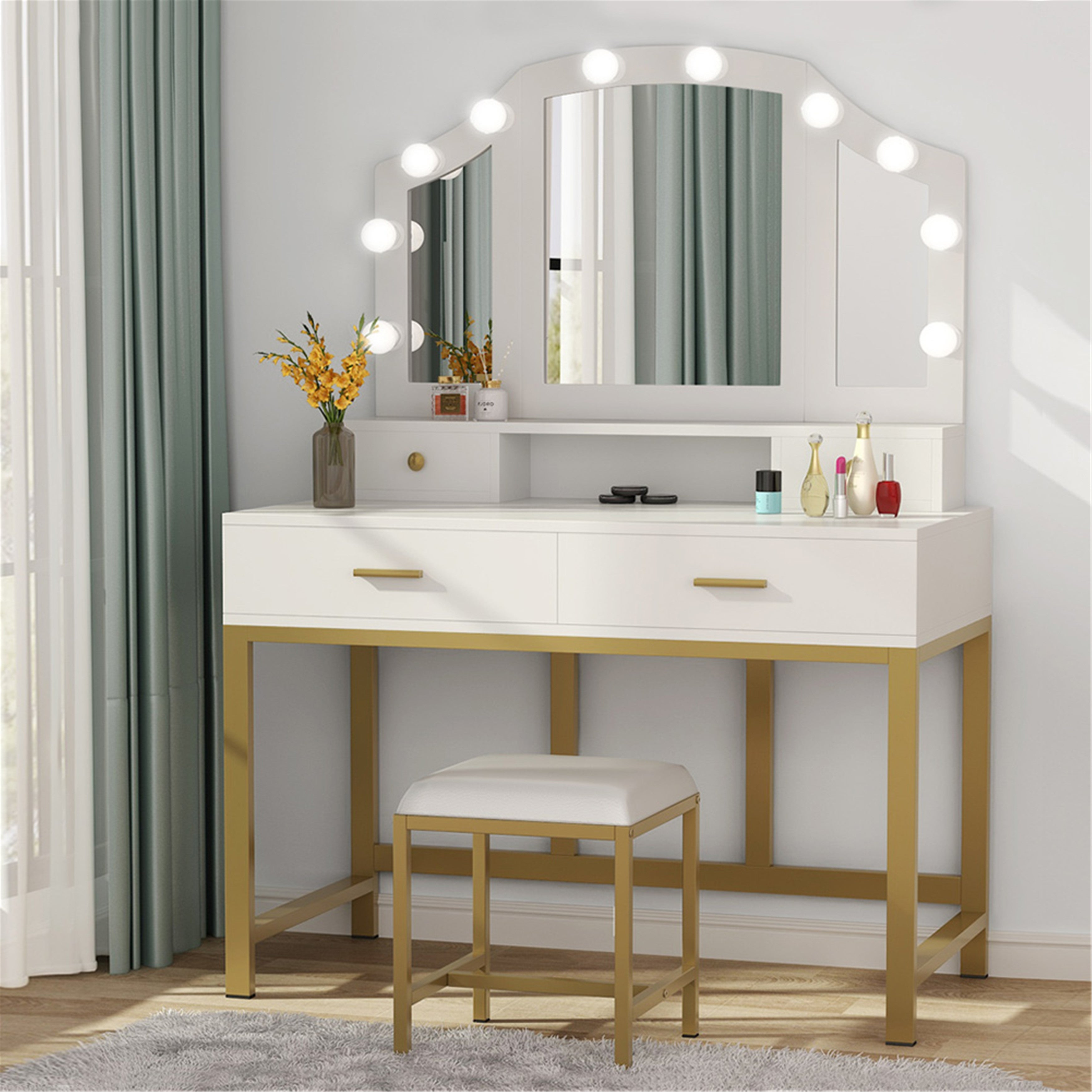 47 Large Vanity Set With Tri Folding Lighted Mirror And 2 Large Drawers 2 Small Drawers White Gold Overstock 31857053