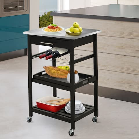 HOMCOM Pine 3-Tier Multifunction Rolling Kitchen Island Cart with Open Storage Shelves, Wine Rack & Stainless Steel Top