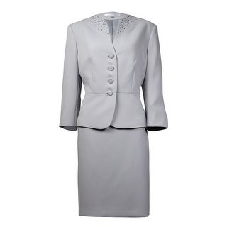 Tahari Women's Embellished Split Neck Crepe Skirt Suit