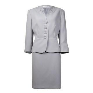 Tahari Women's Embellished Split Neck Crepe Skirt Suit